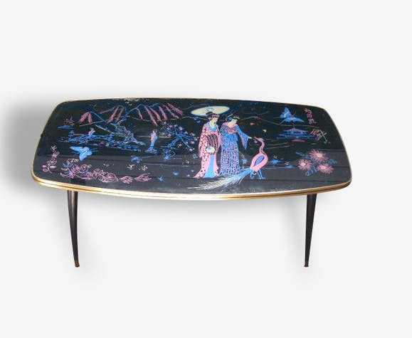 Table basse vintage 1960 motifs asiatiques - bois (Matériau) - noir ...