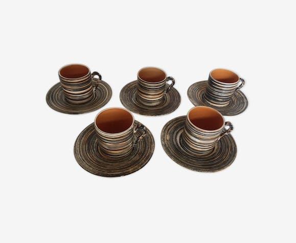 Set de 5 tasses à café 60s Salins motif Bessans faux bois brut