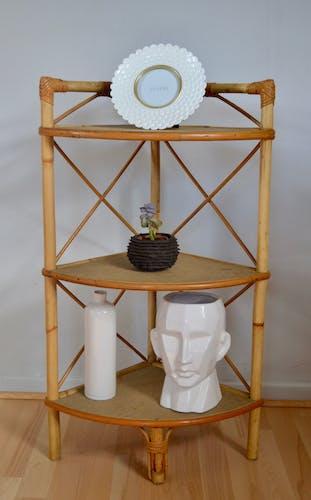 Corner rattan shelf 70s