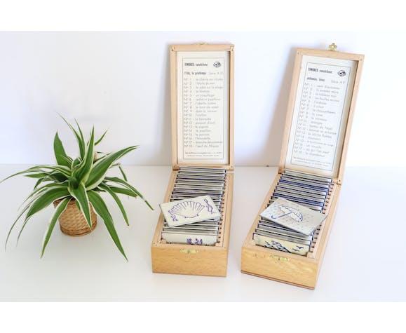 Boites de timbres, tampons, d'école, thème les 4 saisons