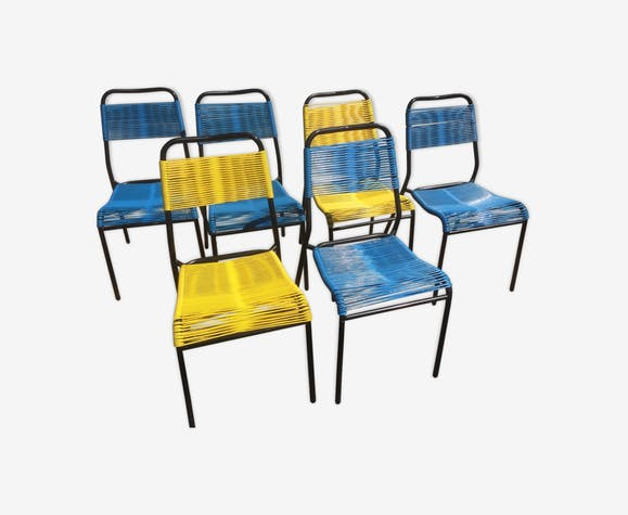 Lot de 6 chaises Scoubidou des années 70