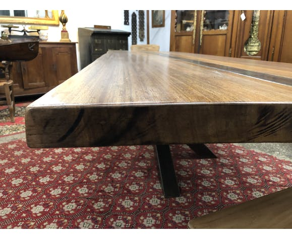 Large iron and wood table