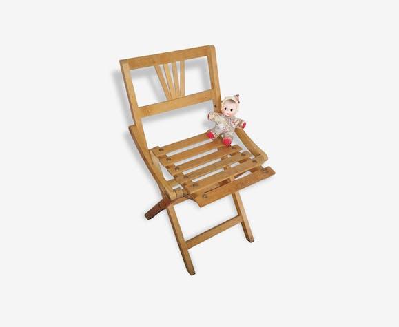 Chaise pliante enfant vintage années 50 bois (Matériau