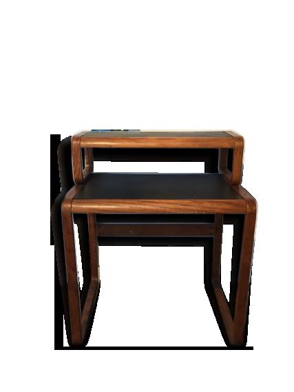 Bureau traineau scandinave deux plateaux bois matériau noir
