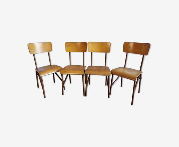 Suite 4 chaises d'école vintage