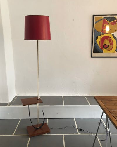 Lampadaire laiton et teck vintage