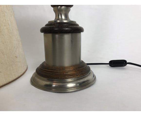 Lampe moderniste des années 70 en bois et métal chromé