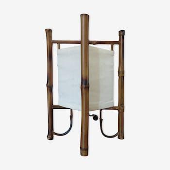 Lampe en rotin bambou années 60/70