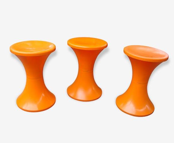 tabouret tam tam vintage 70 - plastique - orange - vintage - 64119