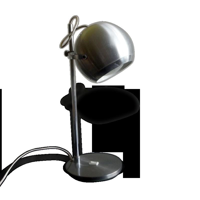 Lampe de bureau vintage eyeball en métal brossé metal silver
