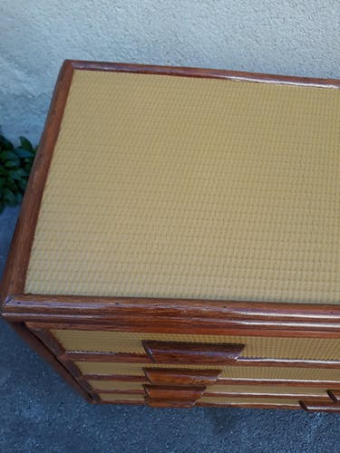 Commode vintage en bambou et rotin