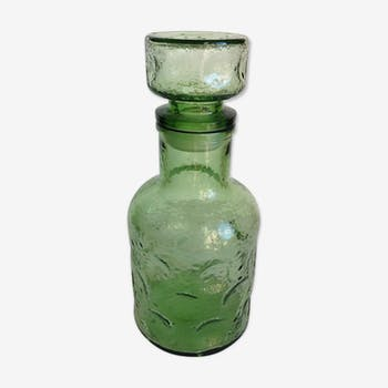 Flacon en verre structuré teinté vintage années 70-80