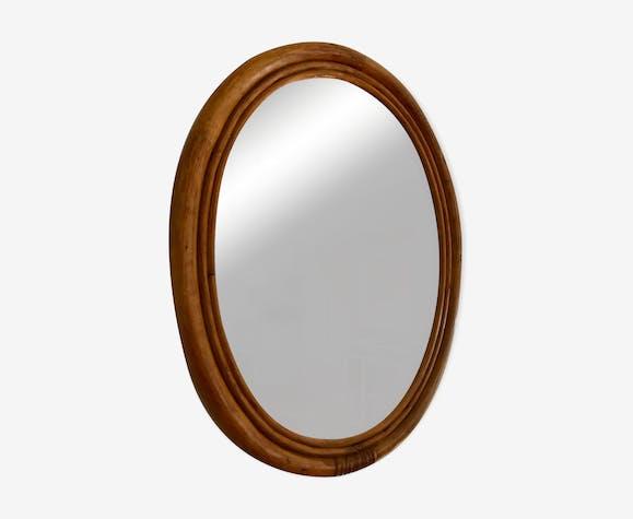 Miroir oval en bambou 43x55cm