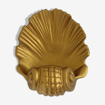 Applique coquillage en plâtre doré années 70