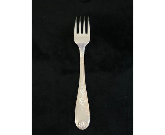 Set de 12 grandes fourchettes en metal argenté Louis xv style marly