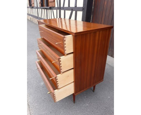 Commode en bois 4 tiroirs et placard