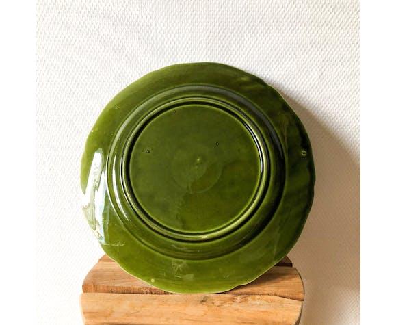 Plat vert olive en faïence