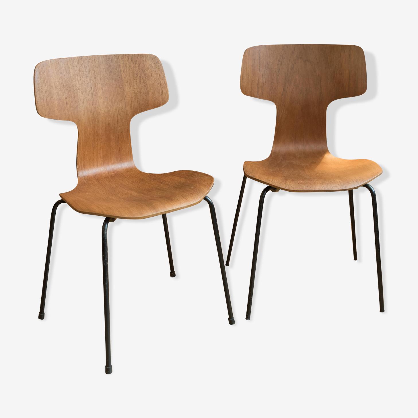 Paire de chaises Arne Jacobsen pour Fritz Hansen