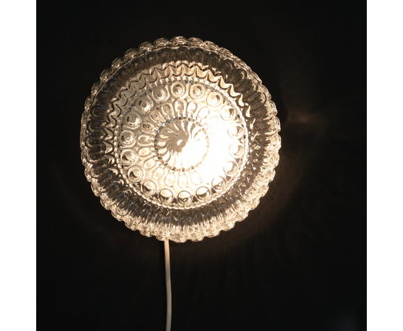 Round ceiling light in thick glass, 20 cm
