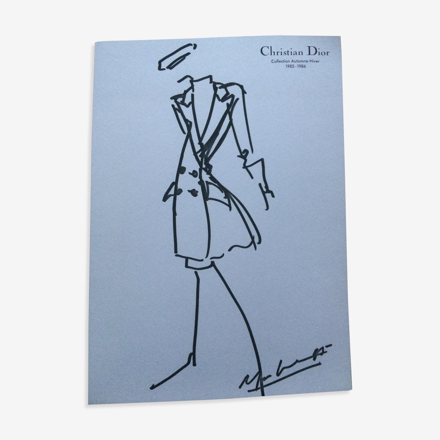 Croquis de mode Christian Dior accompagnée d'une photographie