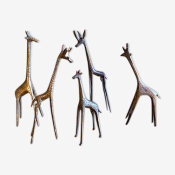 Série de 5 girafes en laiton doré