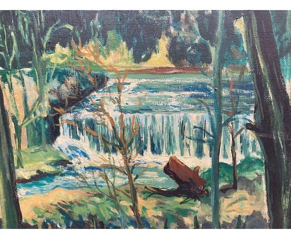 Huile sur toile cascade en forêt