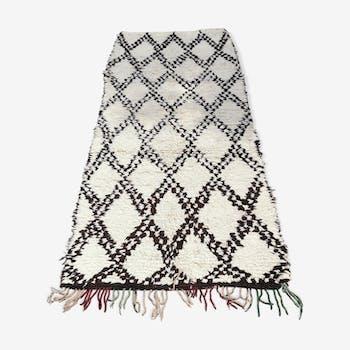 Beni ouarain handmade carpet in wool and cotton - 240x105 cm