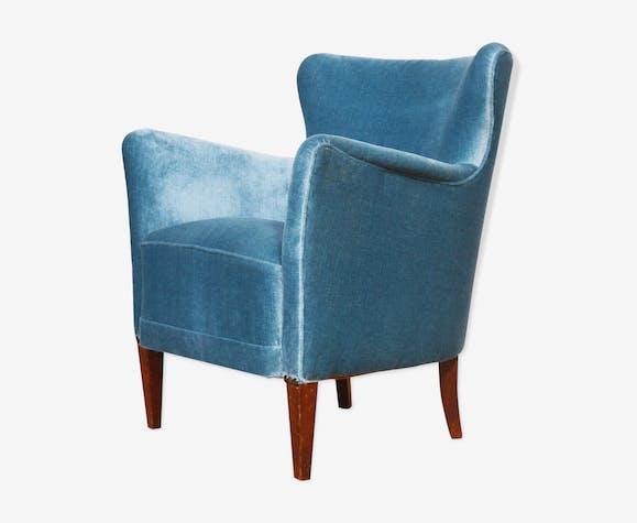 Fauteuil danois en velours bleu 1950