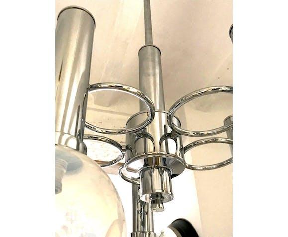 Lustre en verre de Murano Mazzega cinq globes soufflé à la main 1970