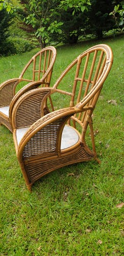 Rattan and vintage bamboo lounge