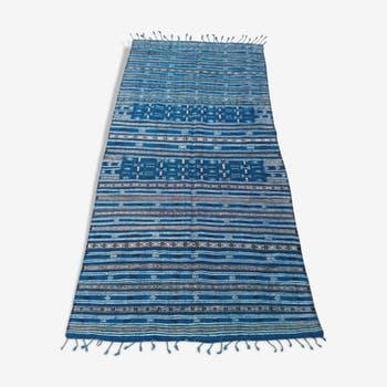Tapis kilim bleu et noir fait à la main 127x217 cm