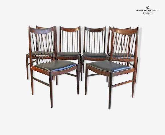 Set of 6 chairs Scandinavian rosewood vintage 60's
