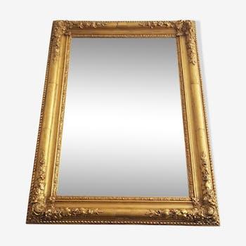 Miroir en bois doré et stuc de style romantique fin XIX ème 54x75cm