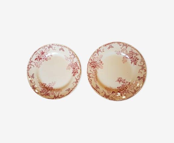 Pair of plates ceramic décor of flowers
