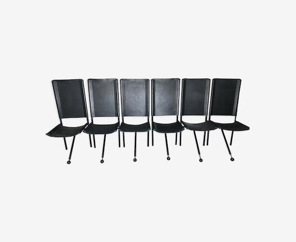 6 Chaises design pieds tripode en cuir et métal 1970