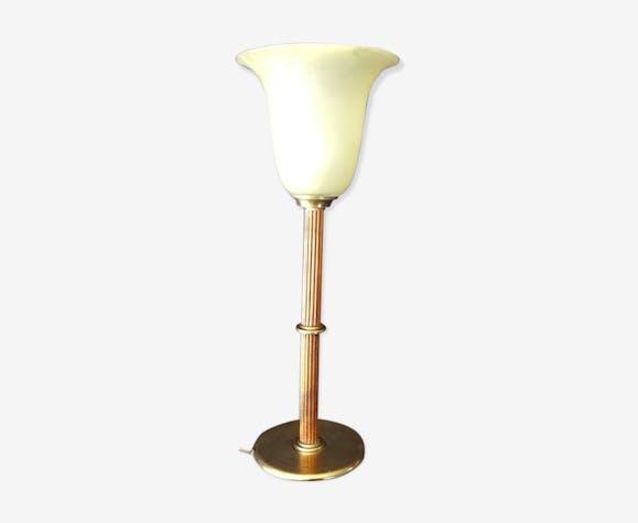 Lampe bois laiton