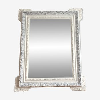 Mirror late 19th, white and grey patinated, 82x65
