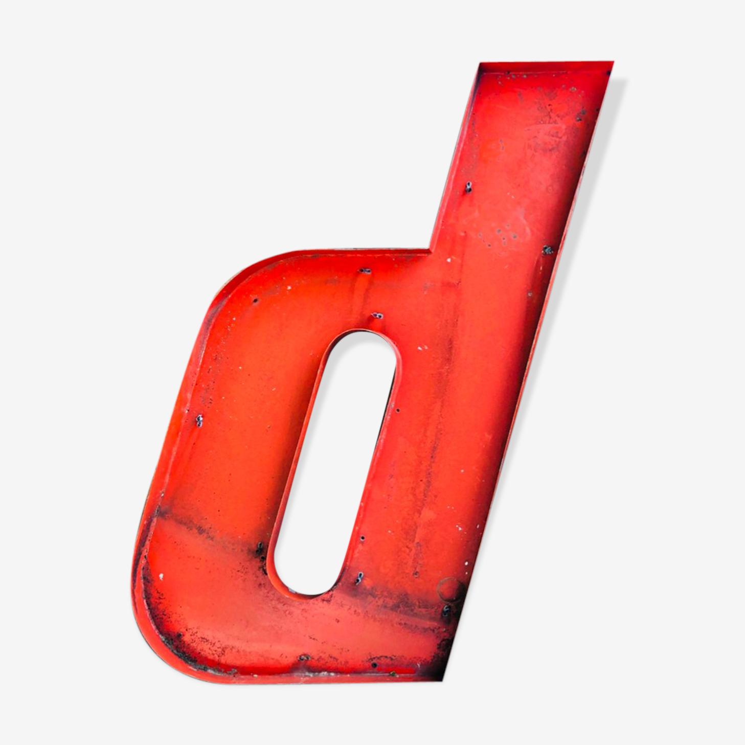 Letter D in metal