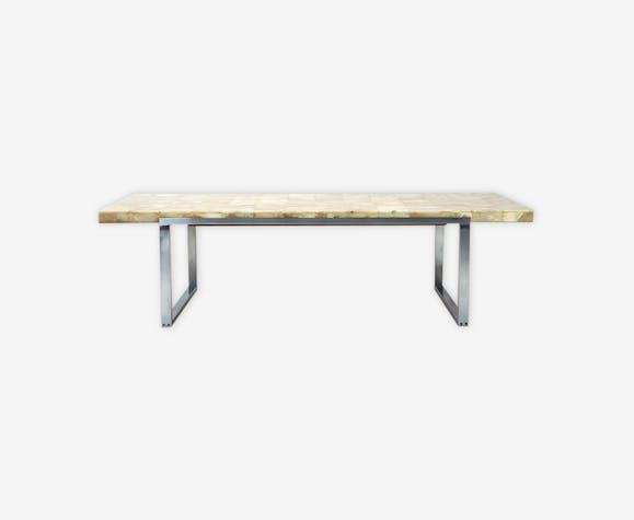 Table basse en marbre onyx des années 70