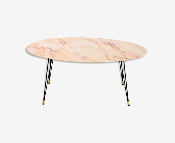 Italy 1950 S Oval Marble Coffee Table Marbre Rose Vintage
