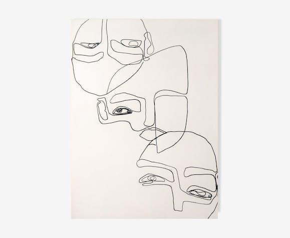 Visages oeuvre originale 50x70