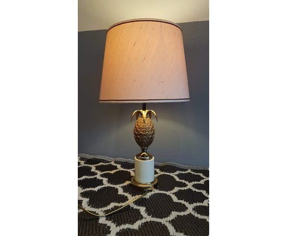 1970s old brass pineapple and gold metal lamp