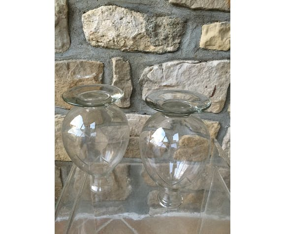 Lot of two old carafes made of cut glass