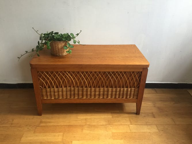Wooden and rattan box