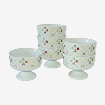 6 coupes à dessert en porcelaine vintage