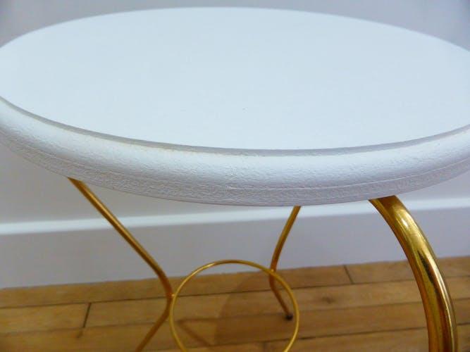 Table d'appoint bout de canapé desserte doré