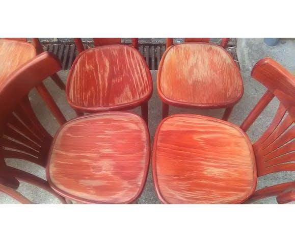 Série de 12 chaises bistrots bois