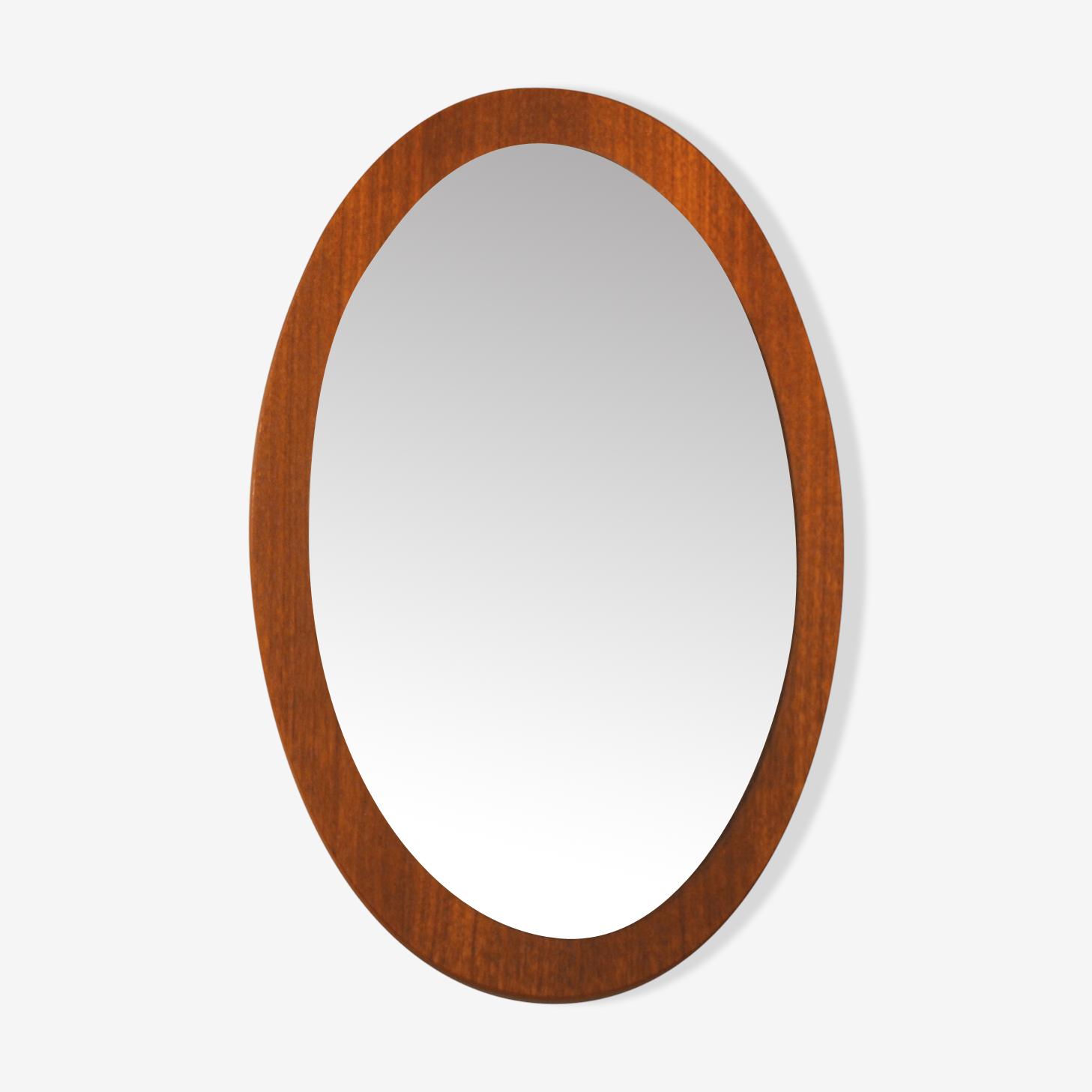 Miroir scandinave en teck années 60 ovale 57 x 37 cm