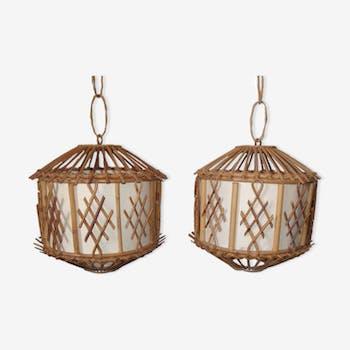 Rattan hanging lamps