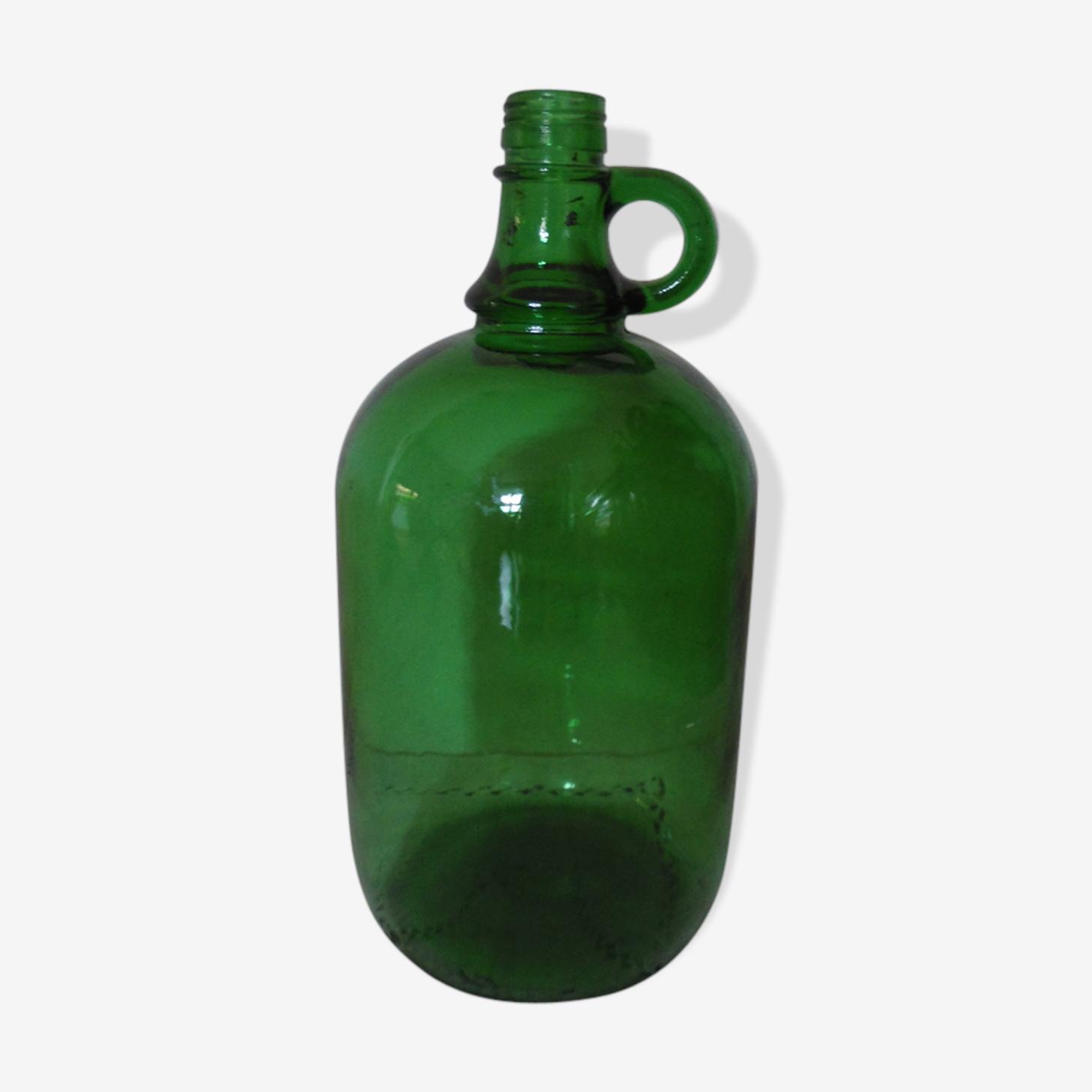Bonbonne a anse en verre transparent couleur vert foncé